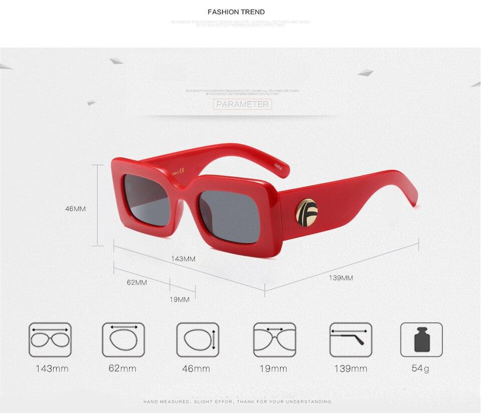DAVE Brand Black Rectangle Sunglasses Women Designer Square Small Face Sun Glasses White Pink Red Frame Eyewear Ladies UV400
