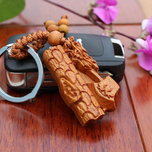 1 pc wholesale New Arrival Handmade wood Keychain Keyring Woodwork Axe Carving Car Pendant Hang Statue Present For Men and Women(China)