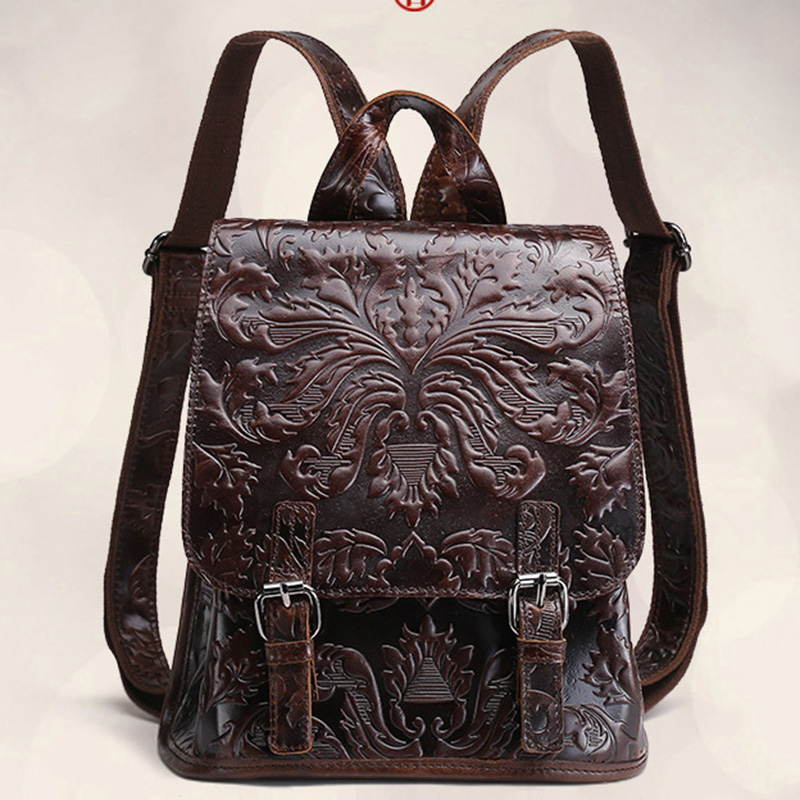 Oil Wax Cowhide Genuine Leather Women Travel Backpack Floral Embossed Female Daypack Casual Travel Rucksack School Bag New<br>
