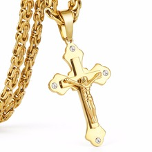 "21.65"" 361L Stainless Steel Gold Color Crystal Jesus Cross Pendant Necklaces 6mm Heavy Link Byzantine Chain Men Necklace MN0069"