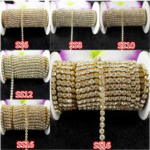 DIY,1yard,SS6/8/10/12/16,Clear rhinestone,Glass Crystal Rhinestone Gold chain compact close rhinestone chain for phone,clothes