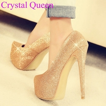 16cm women pumps thin high heels platform heels pumps Plus size women's shoes plus size fashion sexy pumps heels gold and silver(China)