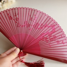 Japanese Folding Fan Upscale Boutique Whole Bamboo Carving Fan Plum Rose Floral Hollow Out Dance Fan Wedding Favors Gift