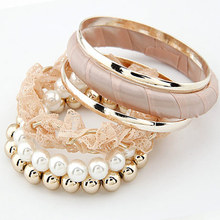 New Brand Alloy Lace Flower Imitation Pearl Bangle Beads Combined Statement bracelets bangles For Women Jewelry Gifts