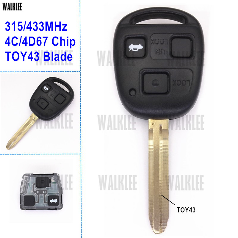 3 Buttons Remote Key for Toyota 433MHZ With 4C Chip For Camry//Prado//Corolla