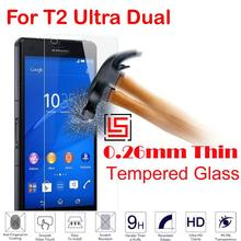 Cheap 0.26mm 2.5D 9H Hardness Tempered Glass Verre Phone Mobile Front Film Screen Protector For Sony Xperia T2 Ultra Dual D5322