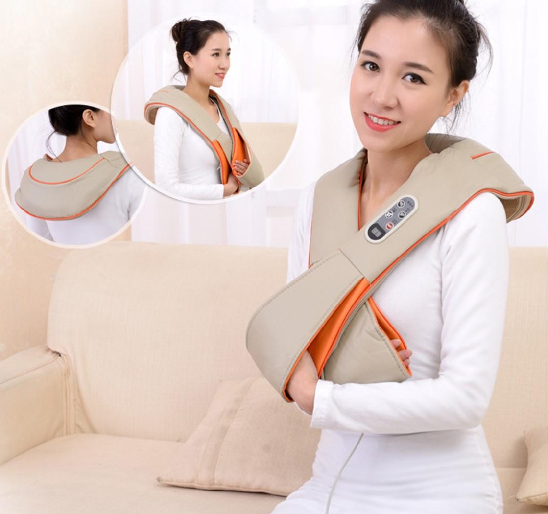 Manufacturers neck shoulder massager anti cellulite home car massager pillow acupuncture heating neck shoulder massage belt<br>