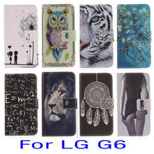For LG G6 flip leather case  back cover cards stand painted owl lover flower smart phone cellular fundas coque bag