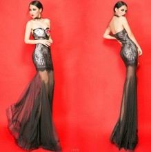 Fashion sexy lace tube top perspectivity slim waist dress fish tail formal dress full dress one-piece dress