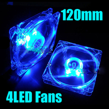 120mm Fans 4 LED 120 x 120 x 25mm 4pin Hydraulic Bearing LED Blue Computer Case Cooling Fan for Computer Case