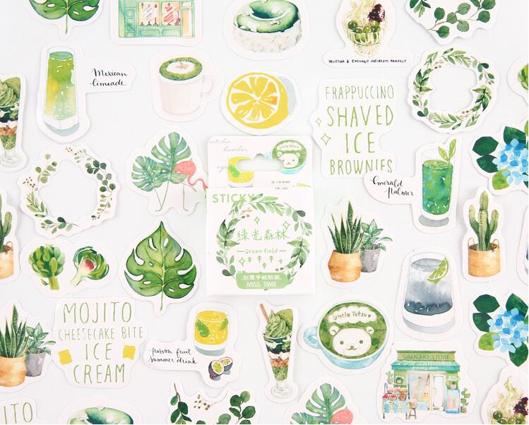 Green Forest  Stickers Set Decorative Stationery Stickers Scrapbooking DIY Diary Album Stick Lable