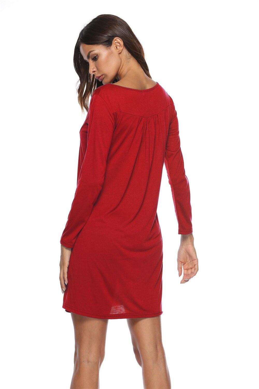 Dresses Women Dress Long Sleeve Autumn Casual Button T Shirt Dress