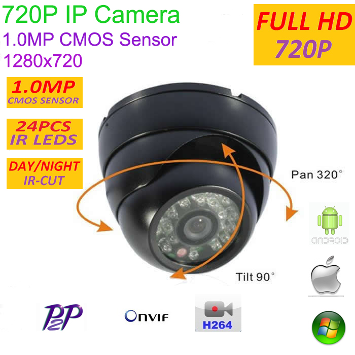 New type 1280*720P 1.0MP Mini Dome 720P IP Camera ONVIF H.264 P2P Indoor network camera IR CUT Night Vision Easy Plug and Play,<br>