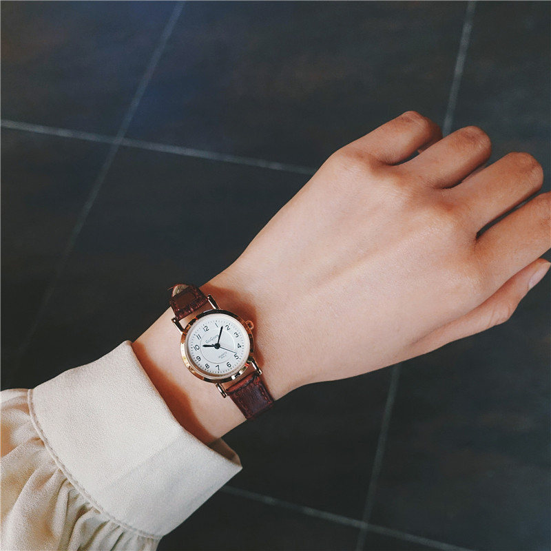 Bamboo Knot Vintage Leather Women Small Watches Designer Blue Pointer Simple Number Dial Fashion Ladies Quartz Wristwatches