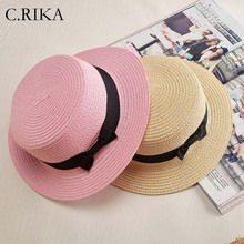 2018 fashion ladies Flat Bow Straw hat summer sun Hat for Women fashion beach Fedora hat(China)