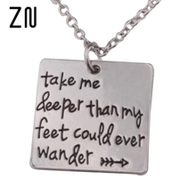 "New arrive Hand Stamped""Take me deeper than my feet could ever wander""Oceans song lyrics Christian jewelry baptism gift"