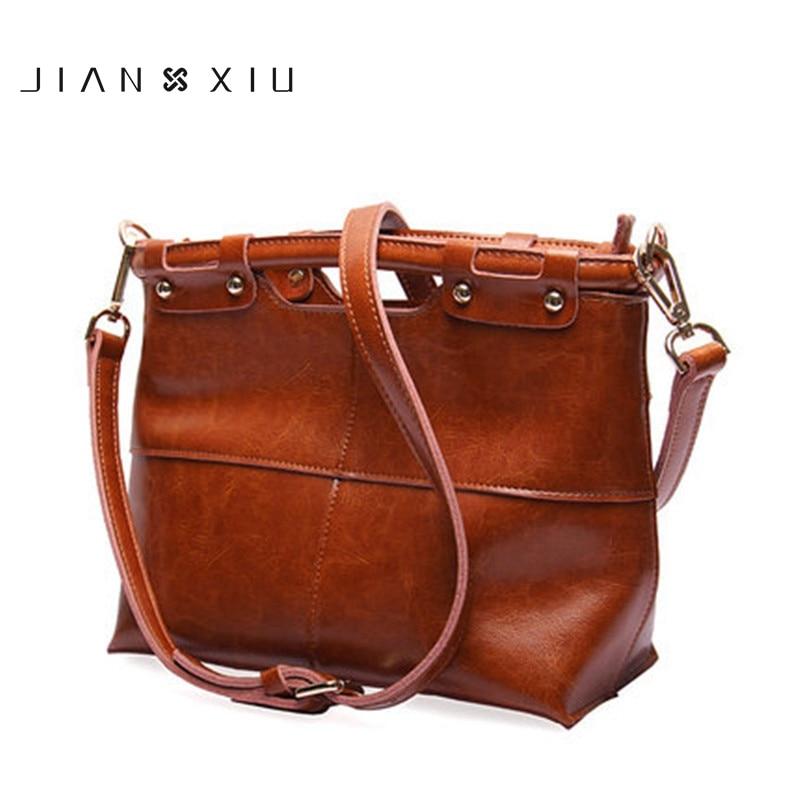 JIANXIU 2018 New Fashion Oil Split Leather womens bag Vintage Ladies handbag original female shoulder Messenger bags Handbags<br>