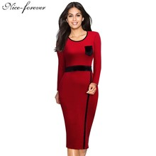 Nice-forever Vintage Mature Patchwork Long Sleeve O-Neck Winter wear to work Casual Office Bodycon Knee Length Women Dress b22