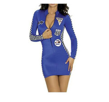 High Quality Sexy Car Racing Costume Deep V Bodycon Bandage Mini Dress Racing Girl Cheerleader Uniform Fancy Nightclub Outfit(China)