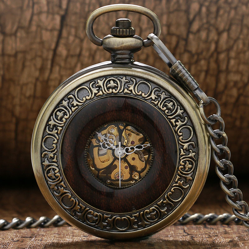 2017 New Elegant Retro Bronze Frame With Black Flower Roman Number Dial Design Mechanical Pocket Watch With Chain<br><br>Aliexpress