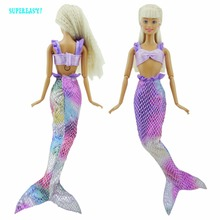 One Set Brand New Dolls Mermaid  Dress  Fashion Clothes For Barbie doll fantasy Mermaid dress doll clothes Baby Toy Best Gift