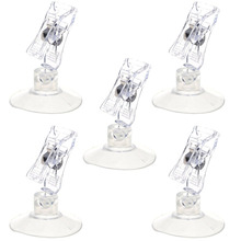 5pcs Clear Color Plastic Rotatable POP Merchandise Sign Display Clip Holder with Sucker(China)