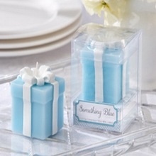 "FREE SHIPPING(100pcs/lot)+ Tiffany Blue Themed Wedding Party Decoration Favors ""Something Blue"" Gift Candle Bridal Shower Favors(China)"
