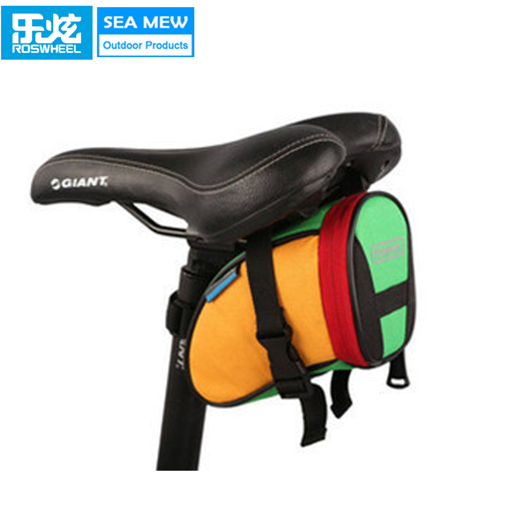 ROSWHEEL Colorful Roswheel Bicycle Bag Cycling Bicycle Bike Saddle Outdoor Pouch Seat Bag Bike Accessories Saddle Bag basket
