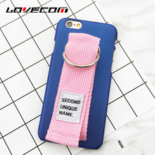 LOVECOM Creative Candy Color & Canvas Hand Holder Parttern For Iphone7 7 Plus 6 6S Plus Hard Anti Shock Mobile Phone Case Shell