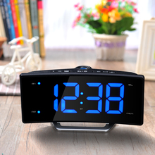 Hot Sale Radio Projection Table Alarm Clock Desk LED Mirror Electronic Luminous Table Clock Charging LED Display Clock(China)