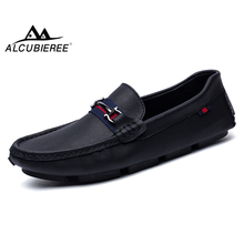 ALCUBIEREE High Quality Genuine Leather Men Loafers Men's Slip 3 Black Styles Driving Shoes Men Moccasin Gommino Boat Shoes