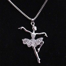 RONGQING 1pcs/lot Ballet Dancer Pendant Sister Birthday Jewelry Gift Crystal Ballerina Necklace Collars