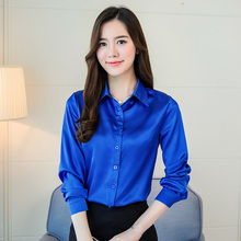 S-3XL Plus Size Shirt Women Tops Casual Loose Long Sleeve Solid Silk Shirts Spring Office OL Formal Blouse Tops Blue Red Blusas(China)