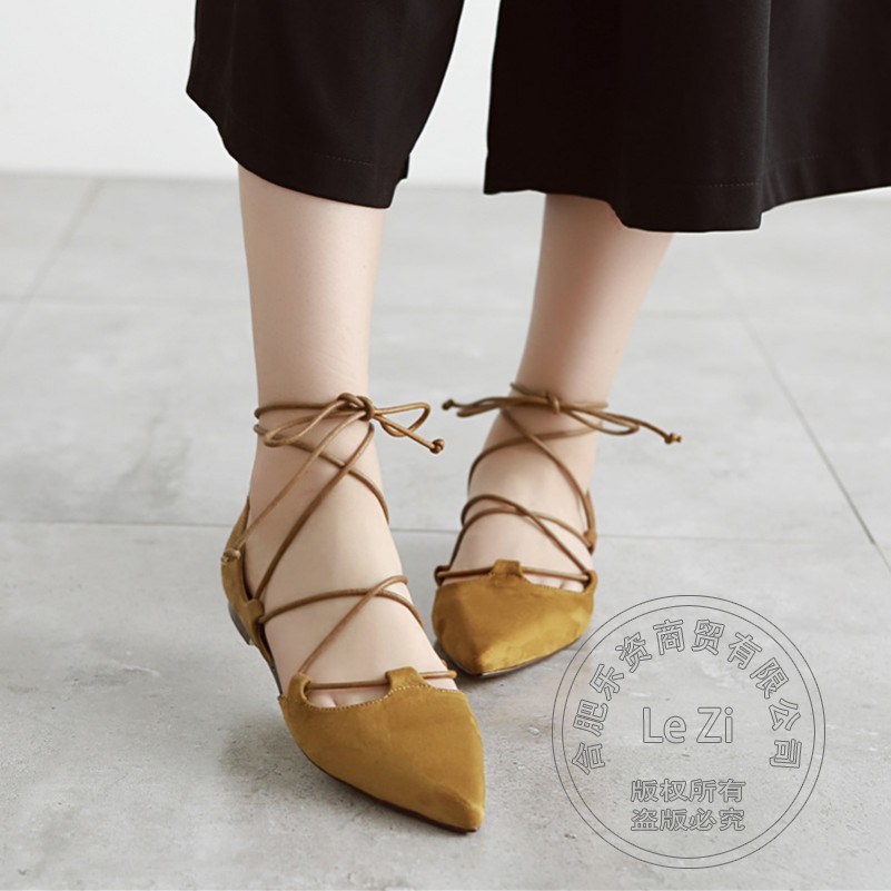 Flock Women Shoes Superstar Lace Up Pointed Toe Flats Rome Soft Leather Plain Pure Color Women Flats Cross Strap Sen Female<br><br>Aliexpress