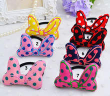 60Pcs Mickey Minnie Ears hair ring for girls Polka Dot Cloth Canvas Hair Rope Big Bow Rabbit ears Children hair hoop hairbands(China)