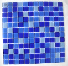 "express shipping free!! cheap swimming pool mosaic tiles blue color, 12x12"" sheet size glass mosaic for wall floor backsplash"