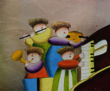 100% Hand Painted Cartoon Oil Painting on Canvas Modern Cartoon Children Play Instrument Wall Art Picture for Living Room Decor(China)