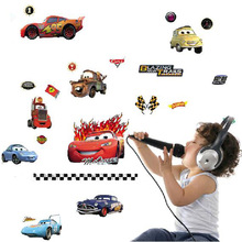 2015 new Transparent Boy's Bedroom Pixar Cars Wall Stickers Kids Nursery Room Art Decal 3D Stickers wallpaper free shipping