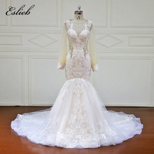 Buy Eslieb Custom made Mermaid Wedding Dresses Appliques lace Button Bridal Gowns Vestido De Novias Wedding Dress XF17079 for $439.45 in AliExpress store