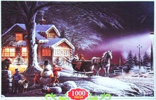 paper puzzle 1000 pieces Snow Winter Carriage paper jigsaws Landscape Puzzles common type adult children jigsaw puzzle for sale