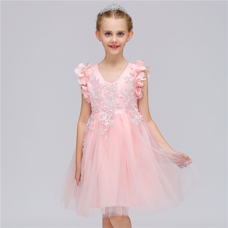 New Kids Girls Flower Dress Butterfly Floral Pattern Birthday Party Dresses Children Fancy Princess Ball Gown Wedding Clothes<br>