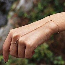 FLTMRH Multi Bangle Slave Chain Link Interweave Finger Rings Hand Harness Bracelets Gold(China)