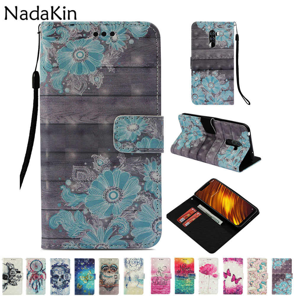 For Xiaomi Pocophone F1 Mi 8 A1 A2 Lite Max 3 Mix 2S Flip Book Case Leather Wallet Phone Cover Luxury 3D Painted Card Slots