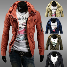 2017 Fashion Slim Men Jacket Zipper Cardigan Double Collar Coat 2016 Solid Casual Male Outerwear Khaki Black Colors Jacket JK29(China)