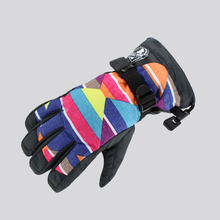 Female color block ski gloves womens waterproof skiing snowboard gloves touch screen design autumn winter outdoor sports gloves