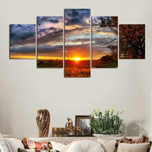 Brand New 5pcs Unframed Hand-painted Painting Set Natural Sun Scenery Canvas Print Decoration For Home Beautiful Art Picture(China)