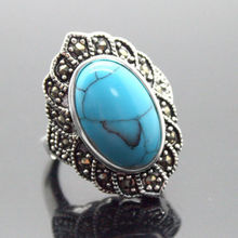17X30mm Blue Turquoises Oval Gem 925 Sterling Silver Marcasite Ring Size 7/8/9/10(China)