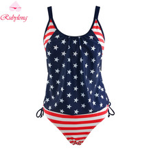 Rubylong Women Tankini Sets Classic Retro USA Flag Two-Piece Suits Strappy Push Up Swimwear Padded Swimsuit Monokini Plus Size