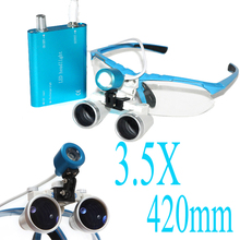 2016 Blue Dentist Dental Loupes 3.5x420 Surgical Glasses + Led Head Light Lamp New Hot Sale