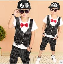 2017 Summer Children's clothing set Hip Hop Dance Suit boys Fake two pieces T-shirts gentleman Performance Fashion brand costume